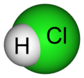 Space-filling model of hydrogen chloride with atom symbols