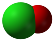 Space-filling model of the hypochlorite anion