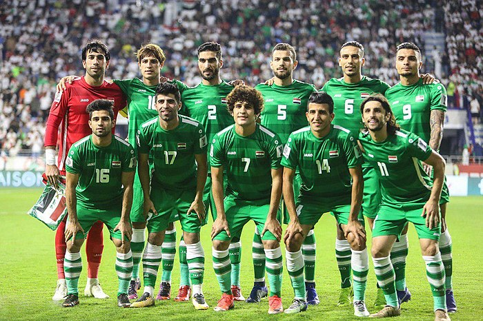 The Iraqi national team pose ahead of their 2019 AFC Asian Cup match against Iran in Dubai. IRN-IRQ 20190116 Asian Cup 24.jpg