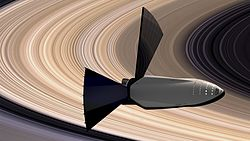 ITS Interplanetary Spaceship, in orbit near the rings of Saturn