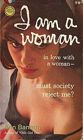 Original cover of I Am a Woman featuring a photograph taken of a woman from above; the model's cleavage is prominent and Bannon's name is placed directly over it