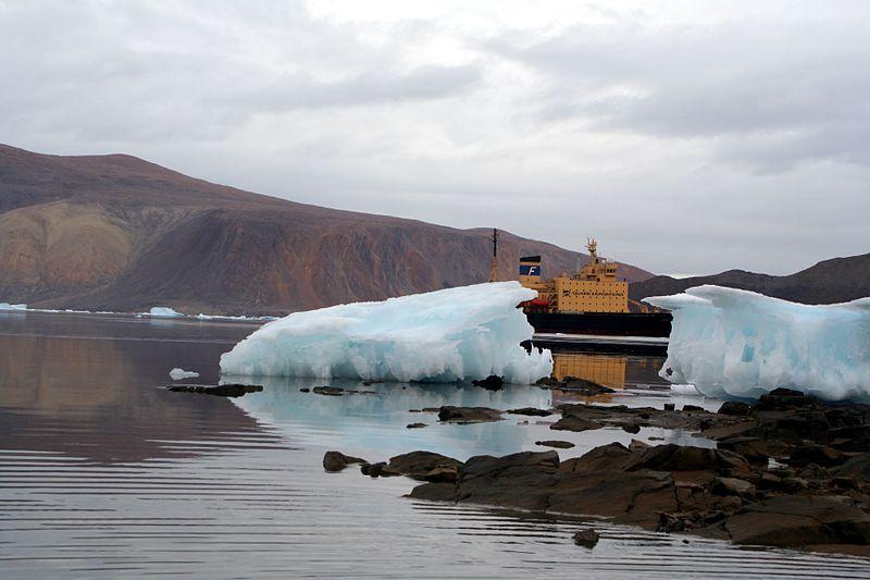File:Icebergs and Icebreaker.JPG