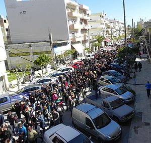 Ierapetra - People in Ierapetra staging a protest rally for the hospital and the technical school of the city.