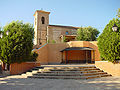 Iglesia, campanario y plaza en Batres.jpg