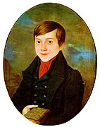 A painted portrait of a boy in a black coat and a red shirt, holding a book in his right hand.