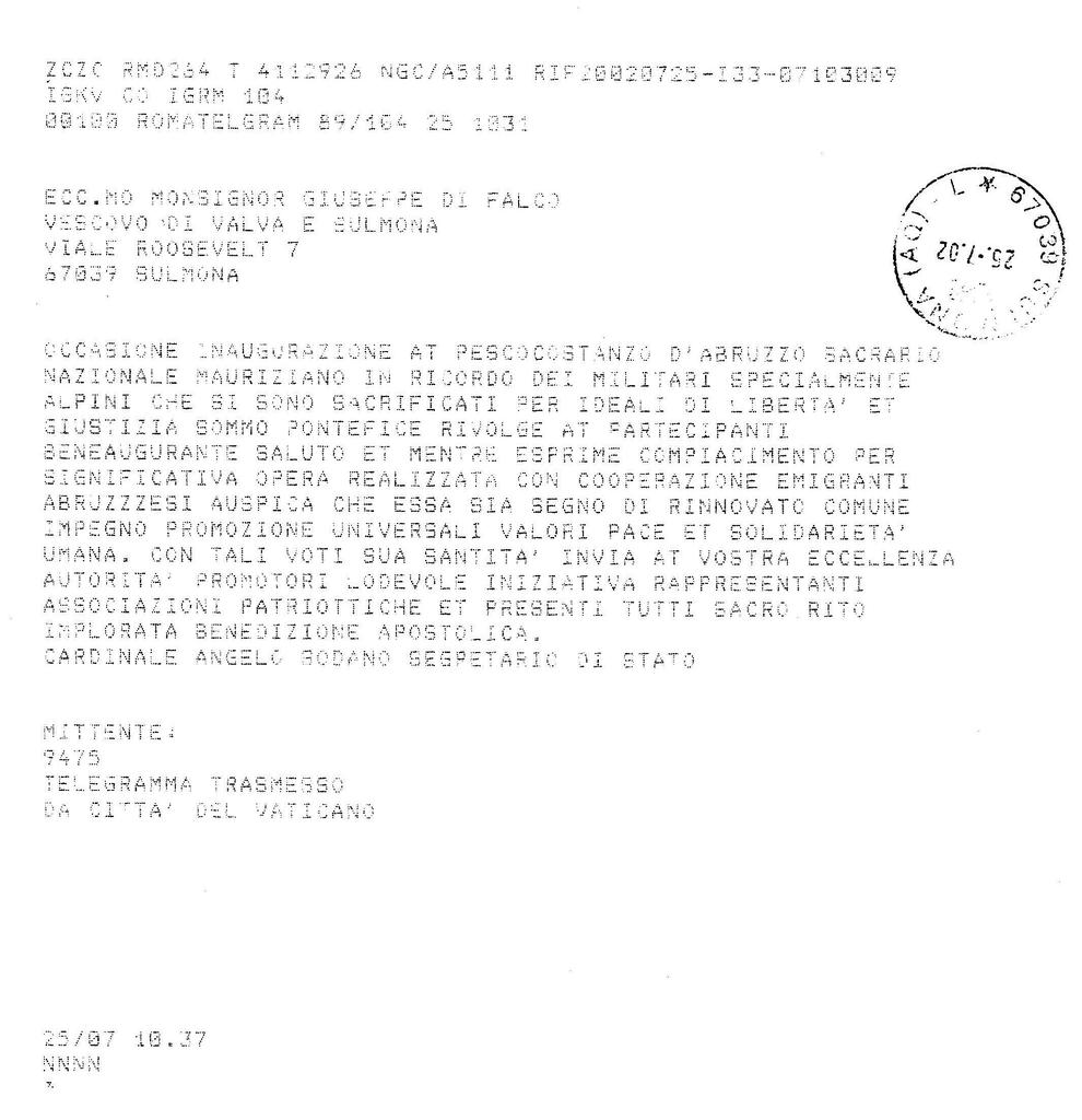 Fileil Telegramma Con La Benedizione Apostolica Di Sua Santit Papa