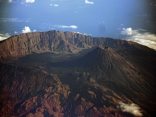 Somma volcano A volcanic caldera that has been partially filled by a new central cone