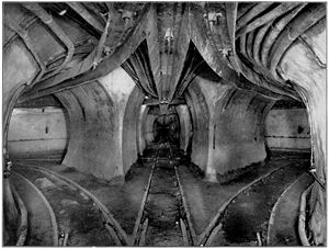 Chicago Tunnel Company - Trackwork in a typical grand union where two tunnels intersected, photographed before 1906.