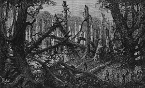 Ituri Rainforest - Engraving of Stanley's expedition crossing a clearing in the forest, from his book In Darkest Africa, 1890