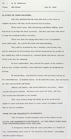William Safire - William Safire memo to H. R. Haldeman to be used in the event that Apollo 11 ended in disaster.