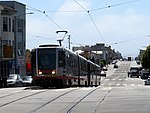 Inbound train at Taraval and 19th Avenue station, June 2019.JPG