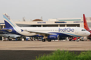 Sardar Vallabhbhai Patel International Airport - An IndiGo Airbus A320 taxiing