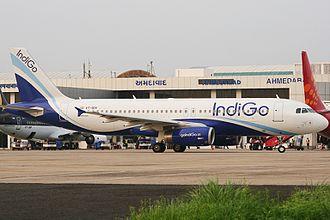 Sardar Vallabhbhai Patel International Airport - An IndiGo Airbus A320 taxiing
