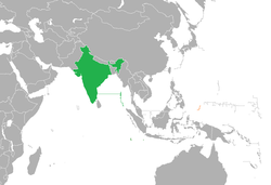 Map indicating locations of India and Palau