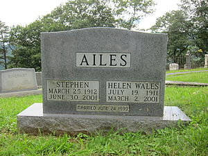 Stephen Ailes - Gravestone at the interment site of Stephen Ailes and his wife Helen Wales Ailes at Indian Mound Cemetery in Romney, West Virginia.