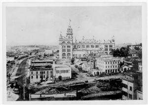 Industrial Exposition Building - The Industrial Exposition Building as seen from the Pillsbury 'A' Mill, c. 1890