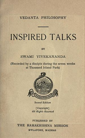 Inspired Talks - Title page of second edition (1910) of the book