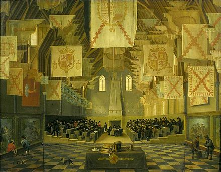 The Great Assembly of the States General, in the Great Hall of the Binnenhof (painting by Dirck van Delen, 1651, formerly attributed to Bartholomeus van Bassen) Interior of the Great Hall on the Binnenhof in The Hague, during the Great Assembly of the States-General in 1651.jpg