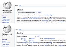 "Example screenshot of Wikipedia with the ""from Wikipedia"" byline altered to become a drop-down list"