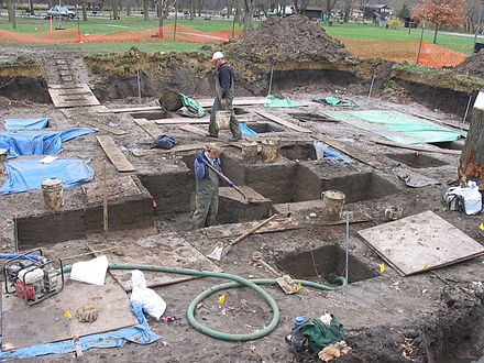Excavation of the 3,800-year-old Edgewater Park Site. Iowa archaeology edgewater.JPG