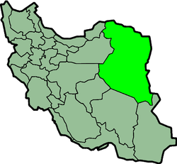 Map of Iran with Khorasan highlighted