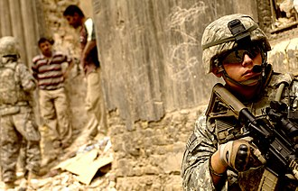 Magpul Industries - Magpul CTR stock, PMAG and rail protectors in use on a M4 Carbine in Iraq