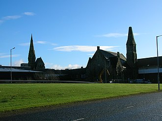 Irvine, North Ayrshire - Irvine churches and the Rivergate Centre.
