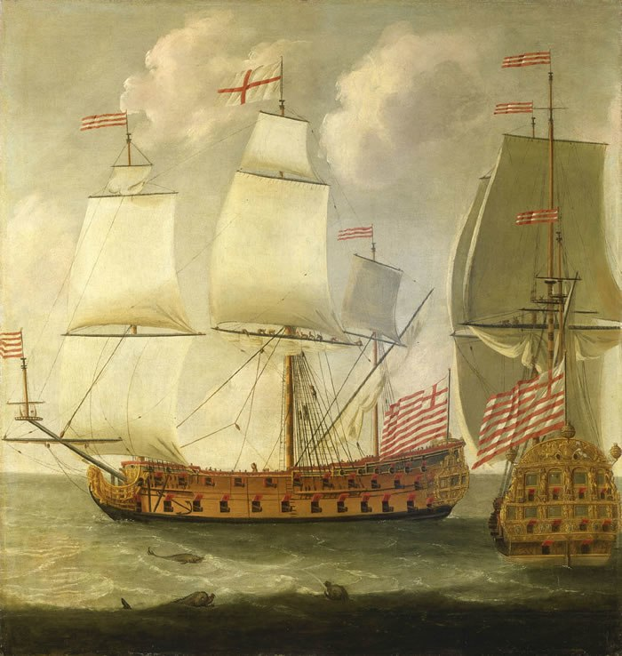 Isaac Sailmaker - Two Views of an East Indiaman of the Time of King William III