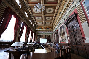 Education in Hungary - Rector's Council Hall of Budapest Business School, the first public business school in the world, founded in 1857