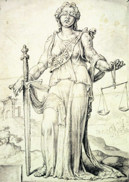 Justitia by Maarten van Heemskerk, 1556. Justitia carries symbolic items such as: a sword, scales and a blindfold[1]