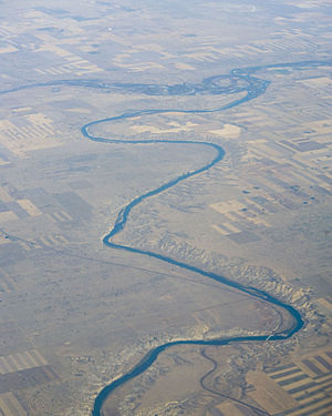 Red Deer River - The Red Deer River (upper left) merging into the South Saskatchewan River at Empress, Alberta