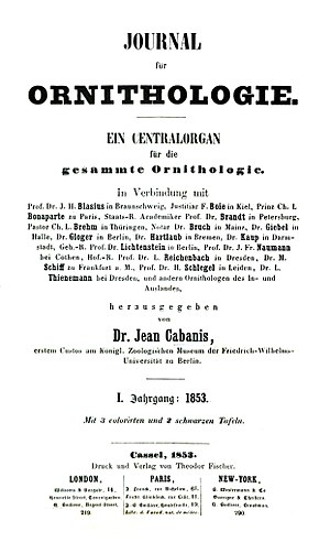 Journal of Ornithology - Title page of the first issue, 1853