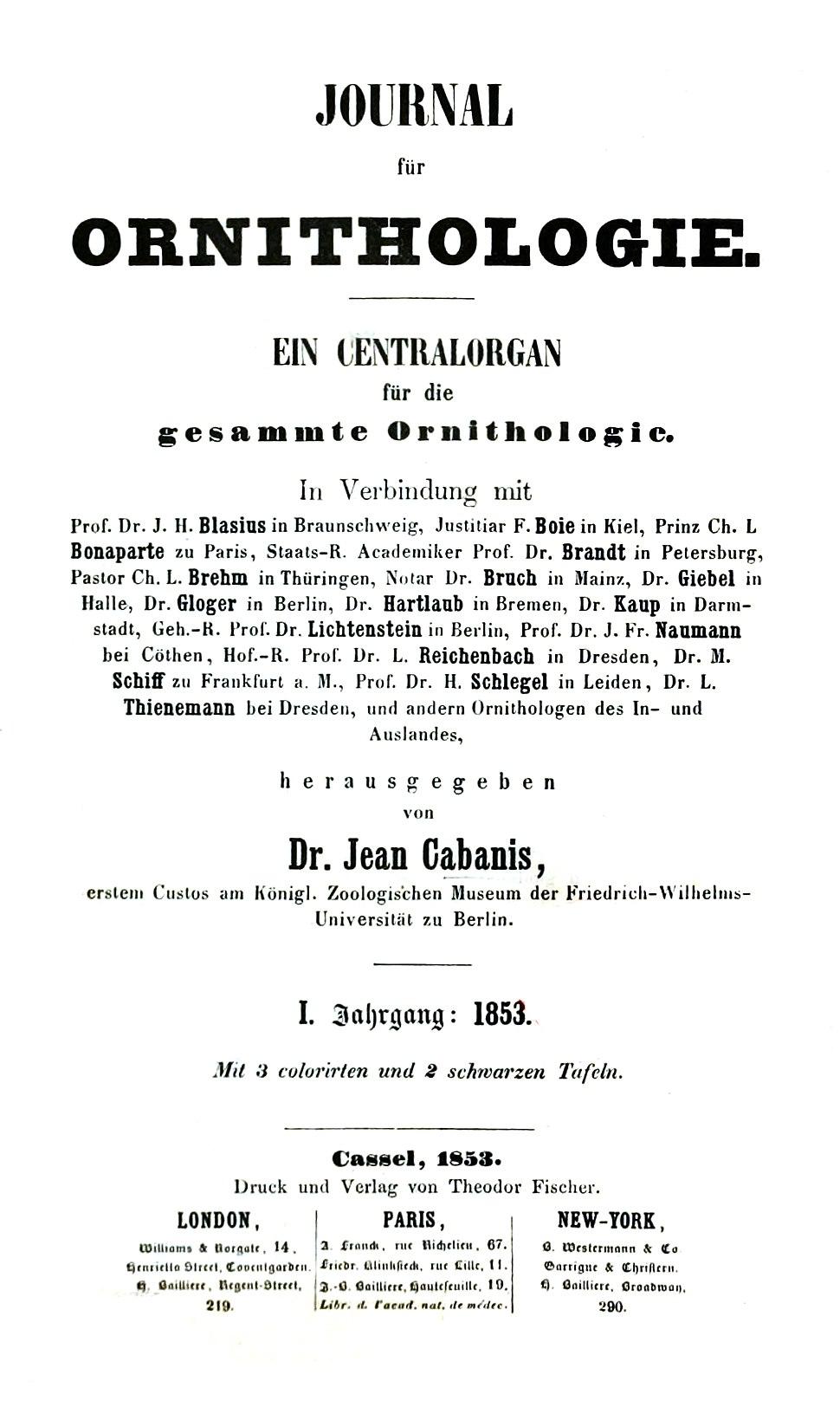 J of Ornithologie 1853