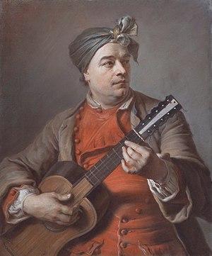 Jacques Dumont le Romain - Jacques Dumont le Romain playing Guitar. By Maurice Quentin de La Tour, date unknown