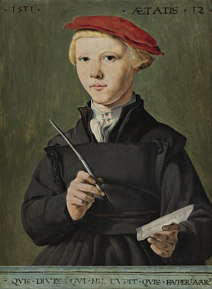 Pride and Joy: Children's Portraits in The Netherlands 1500-1700 - Image: Jan van Scorel Portrait of a Young Scholar Google Art Project