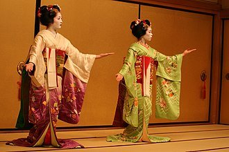 Japanese traditional dance - Two maiko performing a dance