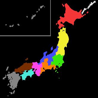 Japanese Regional Leagues - Image: Japanese football regions colored