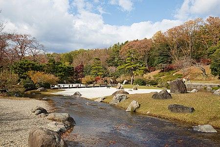 Japanese garden scenery at Expo'70 Commemoration Park in Osaka.
