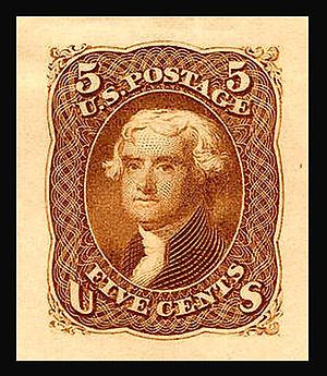 Die proof (philately) - Die proof for the United States Jefferson issue of 1861.