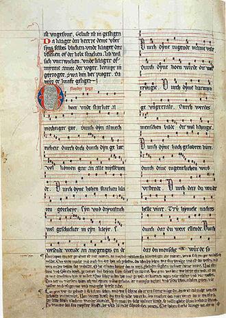 "Spruchdichtung - Jenaer Liederhandschrift, fol. 111v, with the meody of Meister Boppe's Spruch ""O hoer vnde starker almechtiger got"""