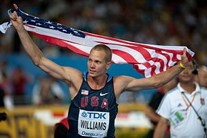 2011 World Championships in Athletics – Men's high jump - Jesse Williams victory celebration at Daegu
