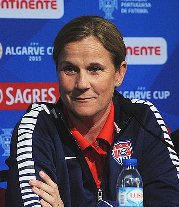 U.S. coach Jill Ellis was vying to become the first manager to win two Women's World Cup titles. Jillian Ellis 2015.jpg