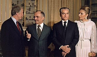 Carter with King Hussein of Jordan and Shah of Iran in 1977 Jimmy Carter with King Hussein of Jordan the Shah of Iran and Shahbanou of Iran - NARA - 177332 04.jpg