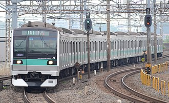 E233 series - An E233-2000 series set on the Joban Line in May 2014