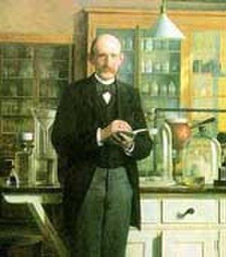 Johan Kjeldahl - Johan Kjeldahl working at Carlsberg Laboratory in the 1880s. Portrait by  Otto Haslund