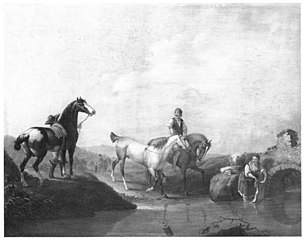 A Groom Leading two Horses to the Water