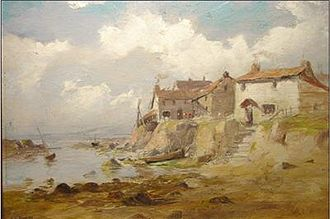 Penwith - Fishing Cottages, Lamorna Valley, Penwith Peninsula, by John Noble Barlow