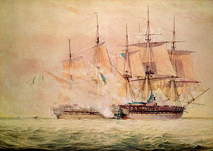 HMS Shannon (1806) - John Christian Schetky's Boarding the Chesapeake, which depicts the first cannon volley between Chesapeake and Shannon