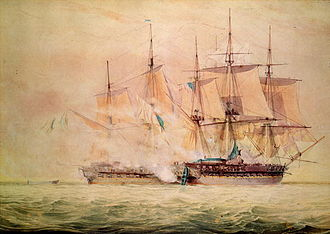 North America and West Indies Station - The capture of USS Chesapeake on 1 June 1813 as depicted by John Christian Schetky