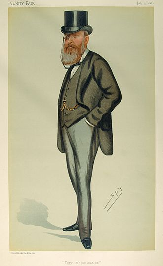 "John Eldon Gorst - ""Tory organisation"". Caricature by Spy published in Vanity Fair in 1880."